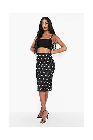 Boohoo Tall Yin Yang Print Mesh Midi Skirt
