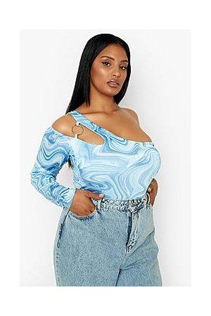Boohoo Plus Marble Slinky One Shoulder Bodysuit
