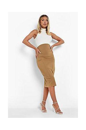 Boohoo Curved Waist Stretch Woven Midi Skirt