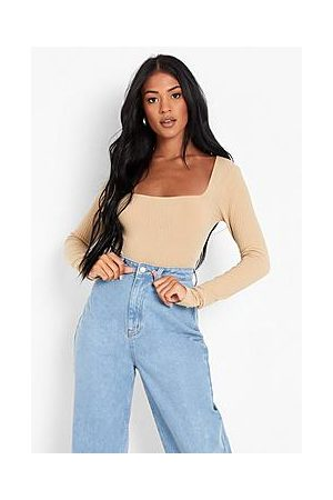 Boohoo Tall Recycled Square Neck Knit Rib Bodysuit