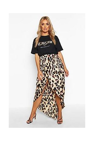 Boohoo Plus Leopard Print Wrap Tie Waist Maxi Skirt