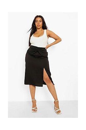 Boohoo Plus Twist Knot Front Satin Midi Skirt