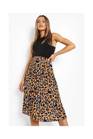 Boohoo Leopard Print Pleated Midi Skirt