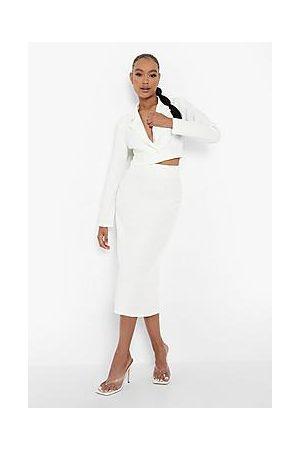 Boohoo Tailored Midaxi Skirt With Split