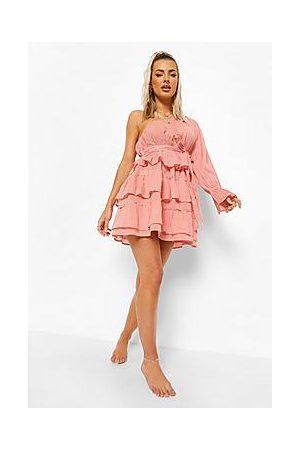 Boohoo Linen Look Asymmetric Beach Dress