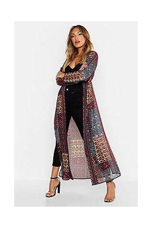 Boohoo Woven Paisley Longline Kimono