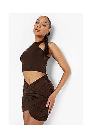Boohoo Slinky Wrap Front Detail Mini Skirt