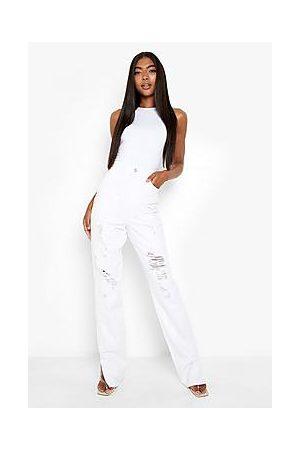 Boohoo Tall High Waist Distressed Split Hem Jeans