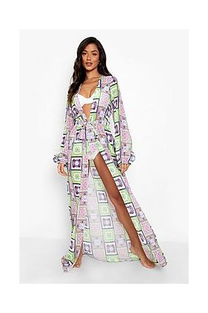 Boohoo Chain Print Belted Maxi Beach Kimono