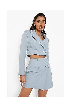 Boohoo Mix & Match Tonal Wrap Mini Skirt