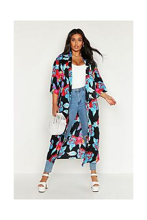 Boohoo Plus Floral Print Belted Kimono