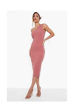 Boohoo Crinkle Asymmetric Midi Dress