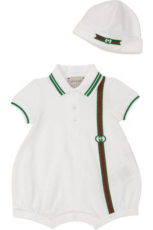 Gucci Kids Baby stretch-cotton piqué romper and hat set