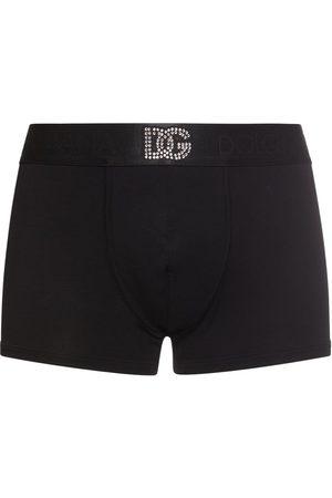 Dolce & Gabbana Dg Crystal Stretch Cotton Boxer Briefs