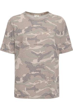 Saint Laurent Camouflage Print Round Neck T-shirt