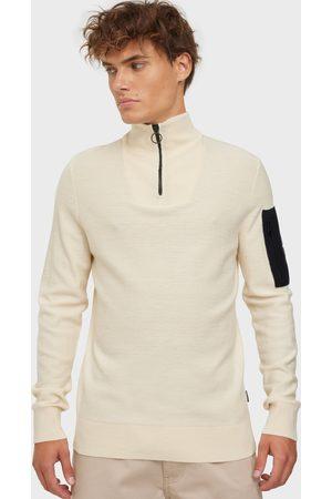 Calvin Klein Miehet Neulepaidat - Rib Detail Collar Quarter Zip Neuleet & swetarit White
