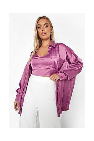 Boohoo Plus Satin Bralet and Shirt Set