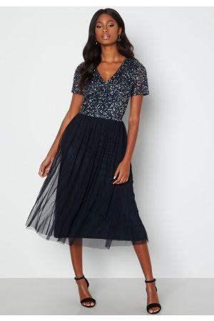 AngelEye Naiset Midimekot - Short Sleeve Sequin Embellished Midi Dress Navy XS (UK8)