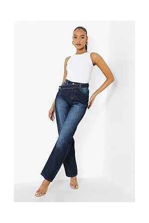 Boohoo Strap Detail Straight Leg Jeans