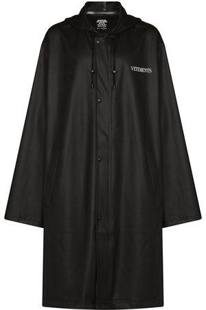 Vetements Logo-print hooded trench coat