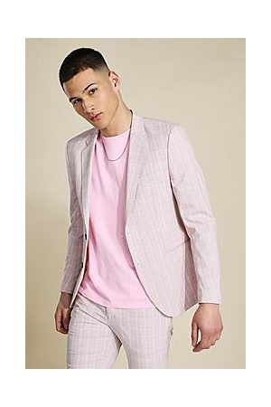 Boohoo Skinny Pink Check Single Breasted Suit Jacket