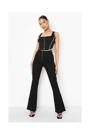Boohoo Zip Front Stretch Skinny Flared Jean