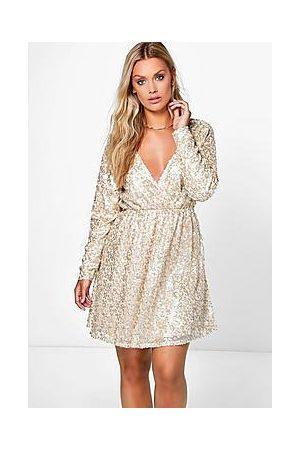 Boohoo Plus Sequin Wrap Skater Dress