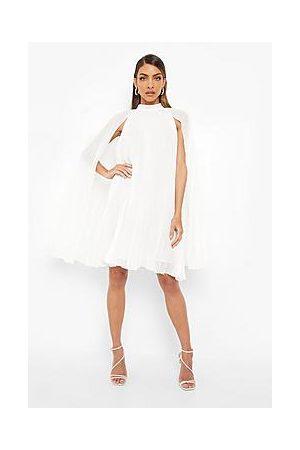 Boohoo Pleated Cape Swing Dress