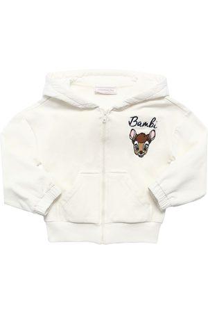 MONNALISA Bambi Zip-up Cotton Sweatshirt Hoodie