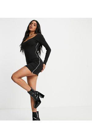 Missyempire Exclusive zip detail long sleeve mini dress in black