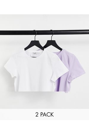 NA-KD Naiset T-paidat - 2 pack t-shirts in lilac and white-Multi