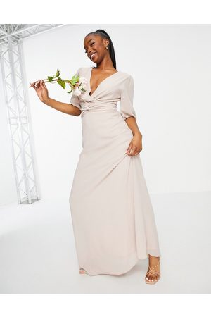 TFNC Bridesmaid wrap front maxi dress in pink