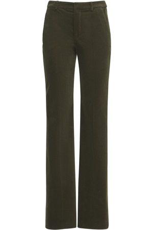 Saint Laurent Cotton Velour Wide Leg Pants