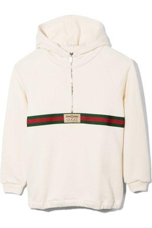 Gucci Kids Collegepaidat - Logo-patch cotton hoodie