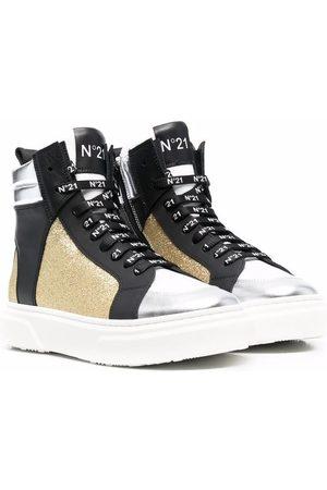 Nº21 Tennarit - TEEN glitter-panel logo-lace high-top sneakers