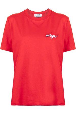 MSGM Naiset T-paidat - Chest-logo crew neck T-shirt