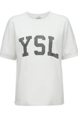 Saint Laurent Logo Short Sleeved Cotton Sweatshirt