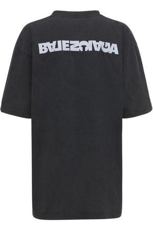 BALENCIAGA Naiset T-paidat - Embroidered Logo Cotton Jersey T-shirt
