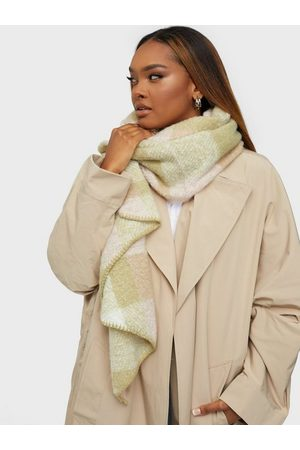 Only Onllima New Check Scarf Sepia Rose Green + Cloud Dancer