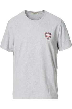 Nudie Jeans Roy Logo Crew Neck Tee Grey melange