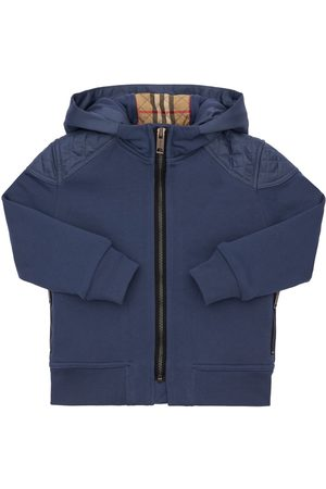 BURBERRY Pojat Collegepaidat - Zip-up Cotton Sweatshirt Hoodie