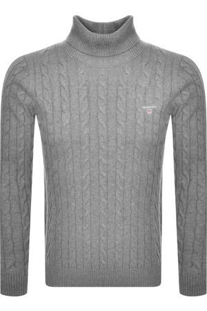 GANT Miehet Poolopaidat - Roll Neck Cable Knit Jumper Grey