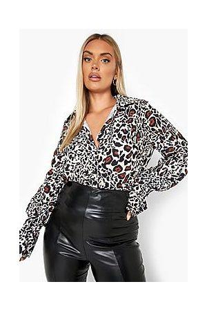 Boohoo Plus Leopard Deep Cuff Bodysuit