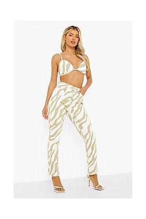 Boohoo High Waist Zebra Print Straight Leg Jeans