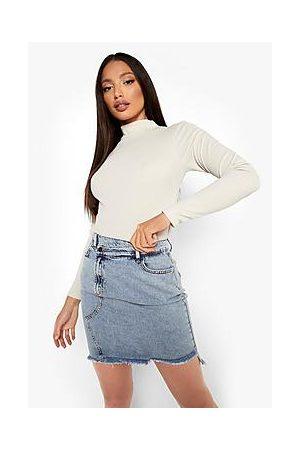 Boohoo Tall Extreme Distressed Denim Midi Skirt