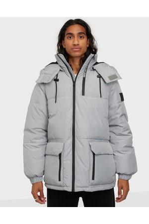 Calvin Klein Jeans Miehet Talvitakit - Blocking Hooded Short Puffer Takit Grey