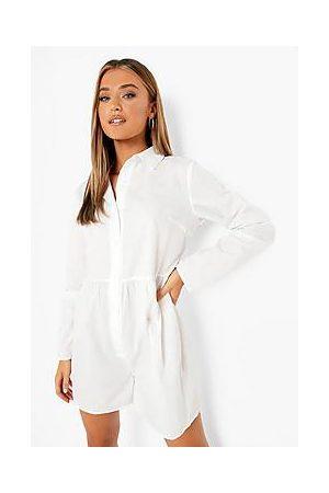 Boohoo Cotton Smock Shirt Playsuit