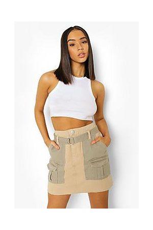 Boohoo Naiset Minihameet - Colour Block Utility Denim Skirt