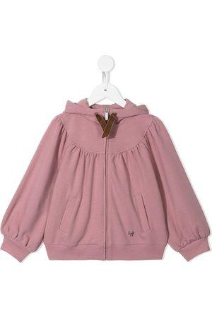 Il gufo Collegepaidat - Gathered-detail zip-up hoodie