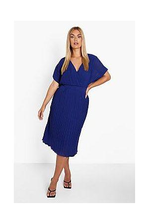 Boohoo Plus Occasion Pleated Wrap Midi Dress